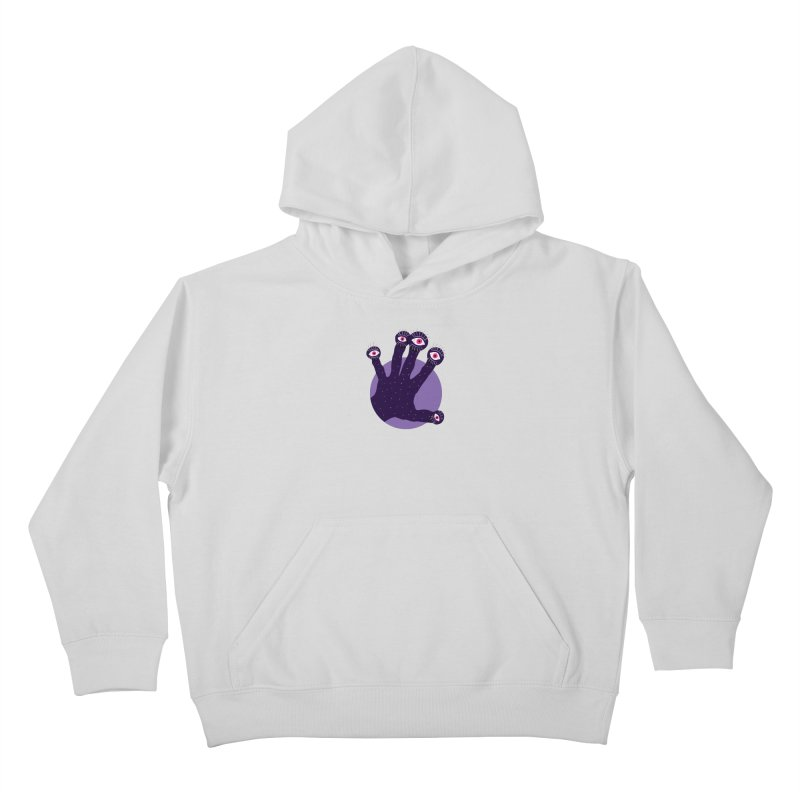Weird Hand With Watching Eyes Kids Pullover Hoody by Boriana's Artist Shop