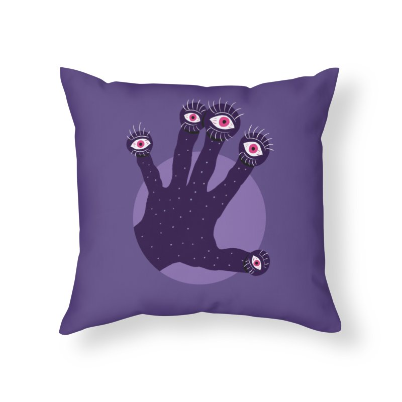 Weird Hand With Watching Eyes Home Throw Pillow by Boriana's Artist Shop