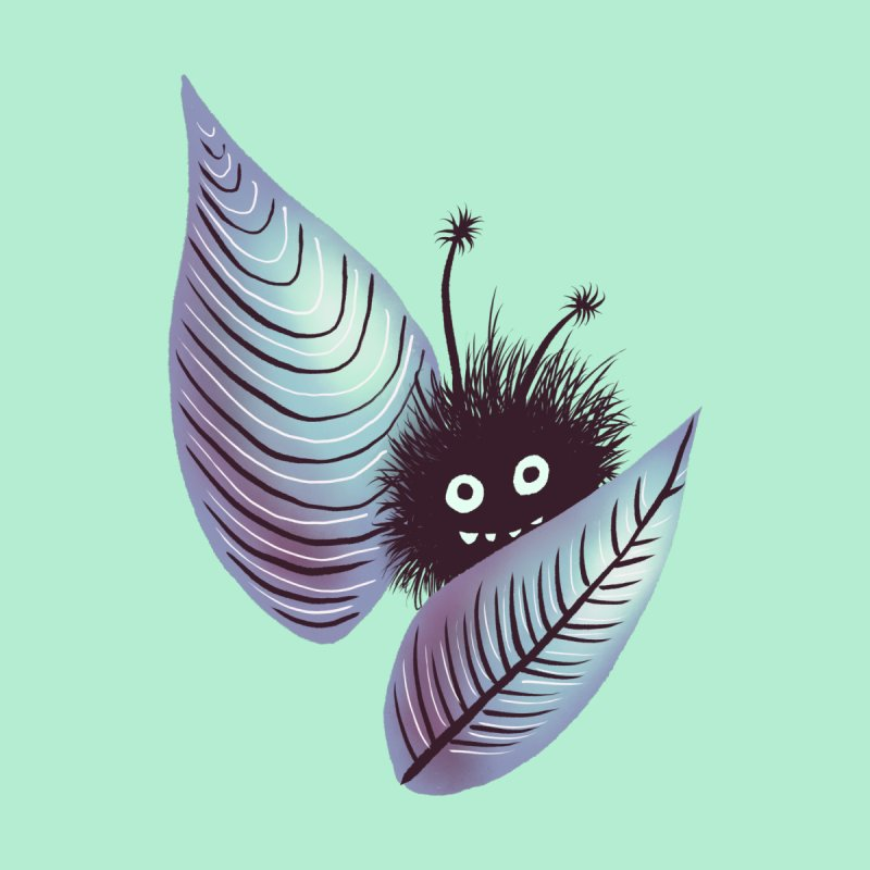Cute Hairy Monster Hidden In Leaves by Boriana's Artist Shop