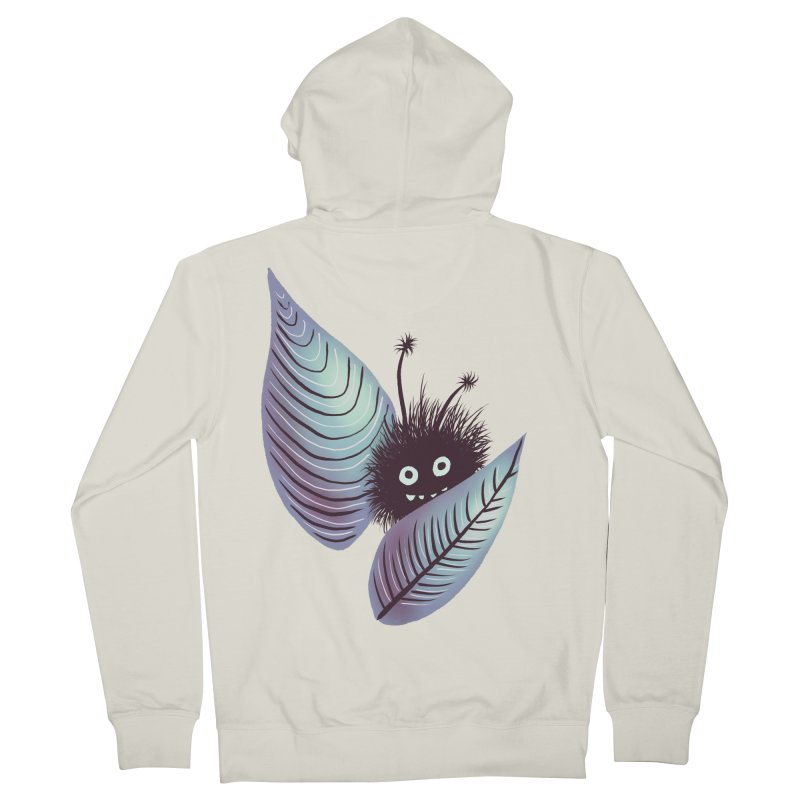 Cute Hairy Monster Hidden In Leaves Women's French Terry Zip-Up Hoody by Boriana's Artist Shop