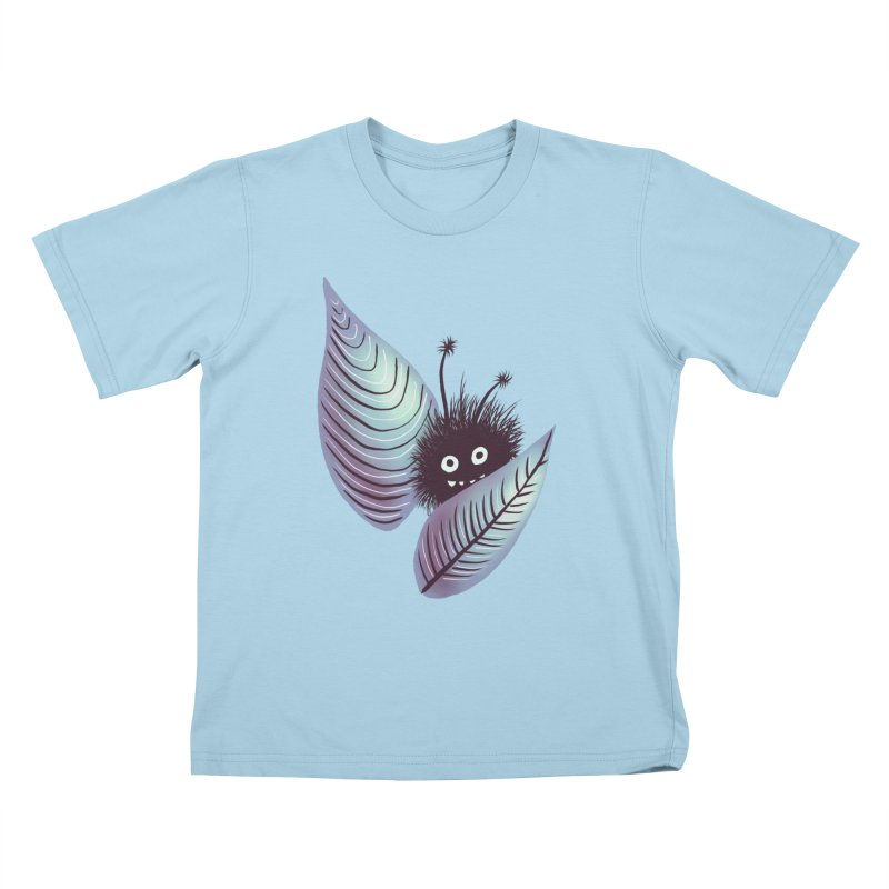 Cute Hairy Monster Hidden In Leaves Kids T-Shirt by Boriana's Artist Shop