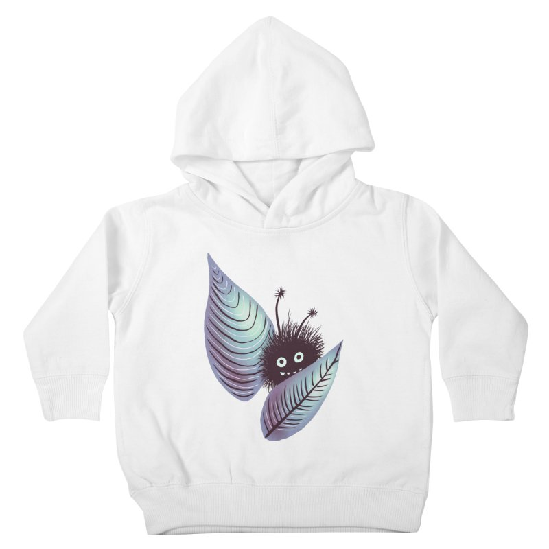 Cute Hairy Monster Hidden In Leaves Kids Toddler Pullover Hoody by Boriana's Artist Shop