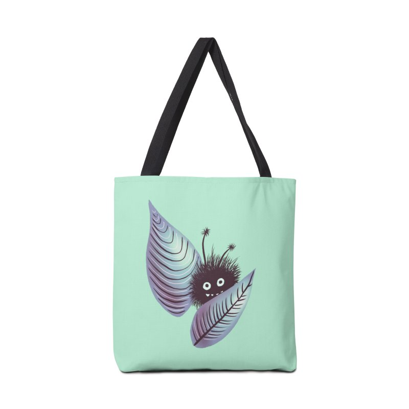 Cute Hairy Monster Hidden In Leaves Accessories Tote Bag Bag by Boriana's Artist Shop