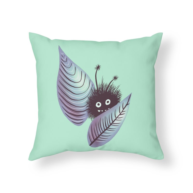 Cute Hairy Monster Hidden In Leaves Home Throw Pillow by Boriana's Artist Shop