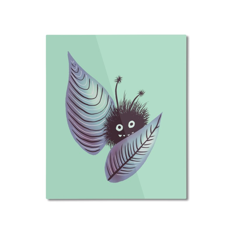 Cute Hairy Monster Hidden In Leaves Home Mounted Aluminum Print by Boriana's Artist Shop