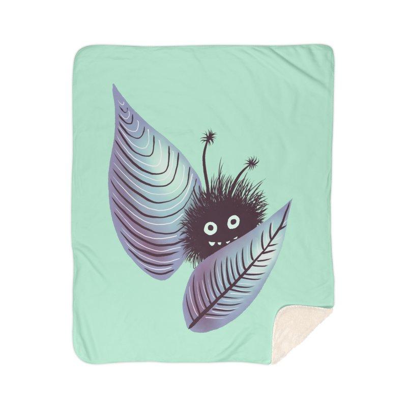 Cute Hairy Monster Hidden In Leaves Home Sherpa Blanket Blanket by Boriana's Artist Shop