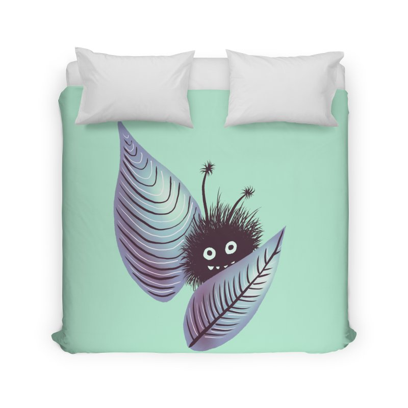 Cute Hairy Monster Hidden In Leaves Home Duvet by Boriana's Artist Shop