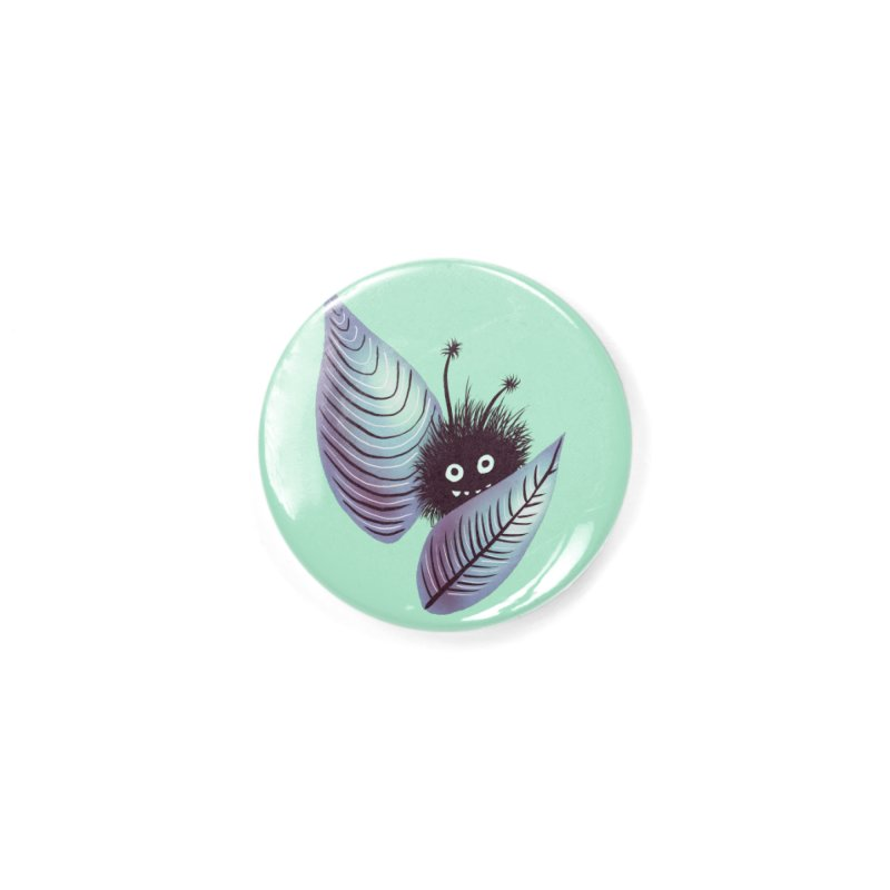 Cute Hairy Monster Hidden In Leaves Accessories Button by Boriana's Artist Shop