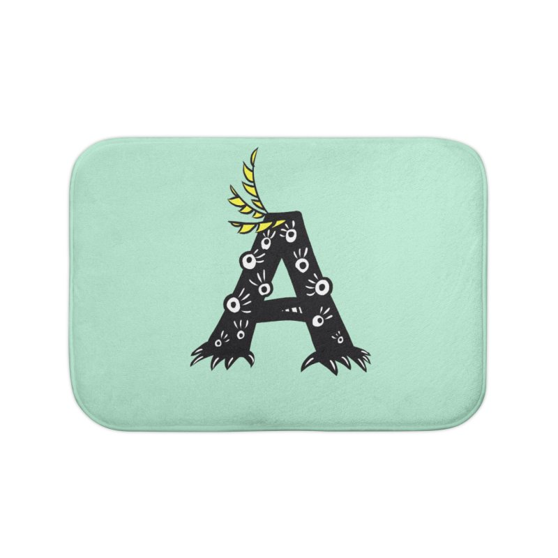 Letter A Funny Monster Home Bath Mat by Boriana's Artist Shop