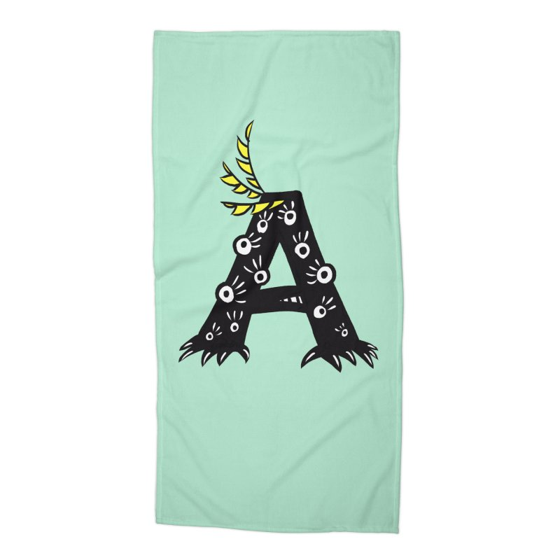 Letter A Funny Monster Accessories Beach Towel by Boriana's Artist Shop