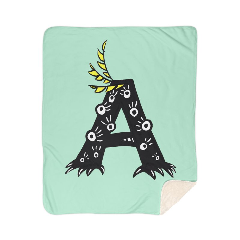 Letter A Funny Monster Home Sherpa Blanket Blanket by Boriana's Artist Shop