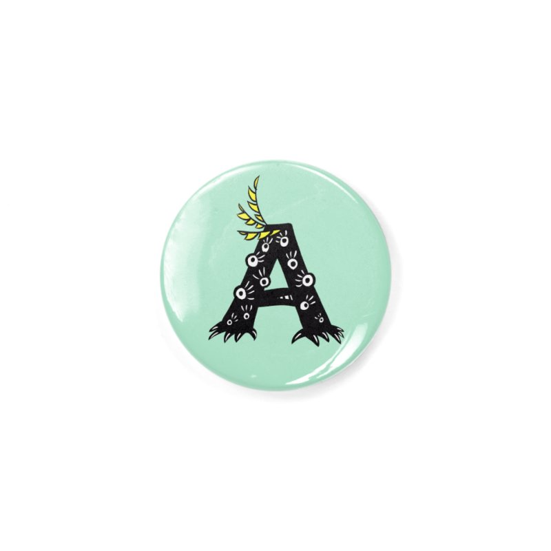 Letter A Funny Monster Accessories Button by Boriana's Artist Shop