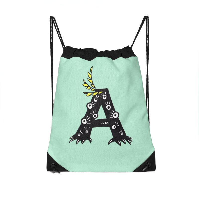 Letter A Funny Monster Accessories Drawstring Bag Bag by Boriana's Artist Shop