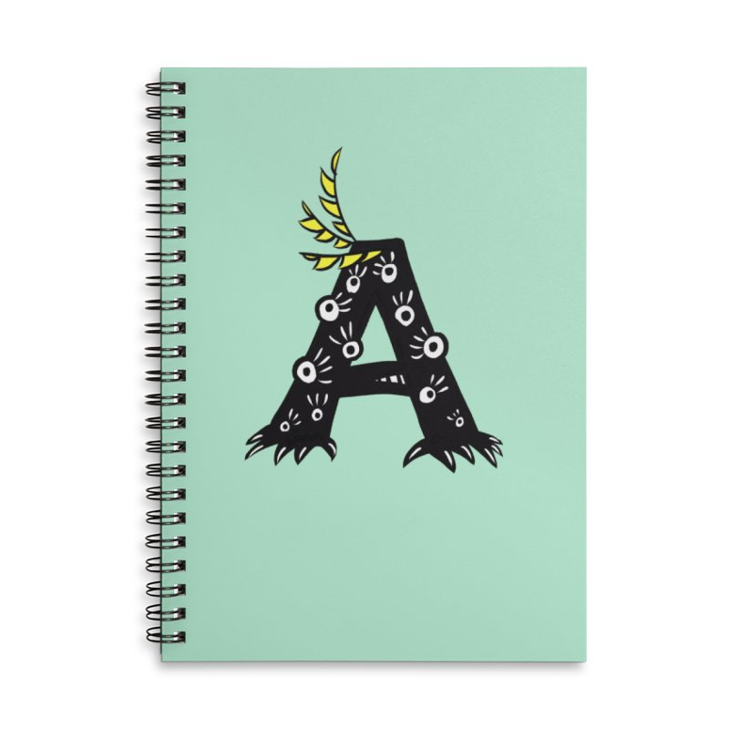Letter A Funny Monster Accessories Lined Spiral Notebook by Boriana's Artist Shop