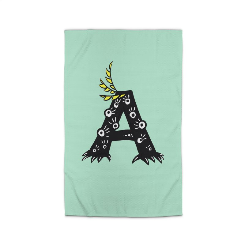 Letter A Funny Monster Home Rug by Boriana's Artist Shop