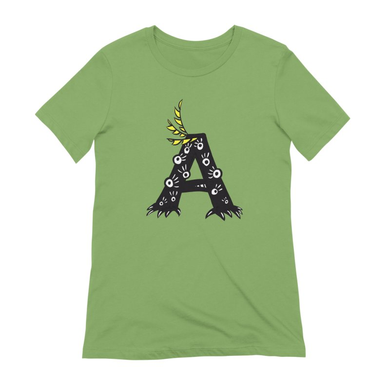Letter A Funny Monster Women's Extra Soft T-Shirt by Boriana's Artist Shop