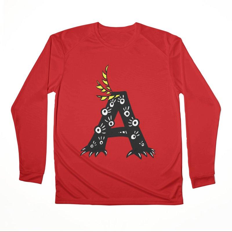 Letter A Funny Monster Men's Performance Longsleeve T-Shirt by Boriana's Artist Shop