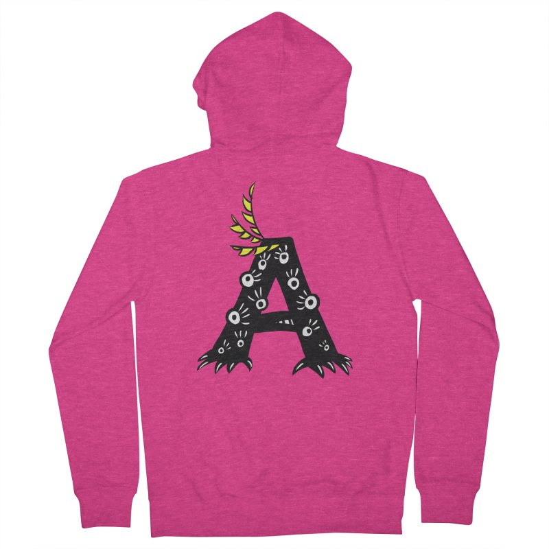 Letter A Funny Monster Women's French Terry Zip-Up Hoody by Boriana's Artist Shop