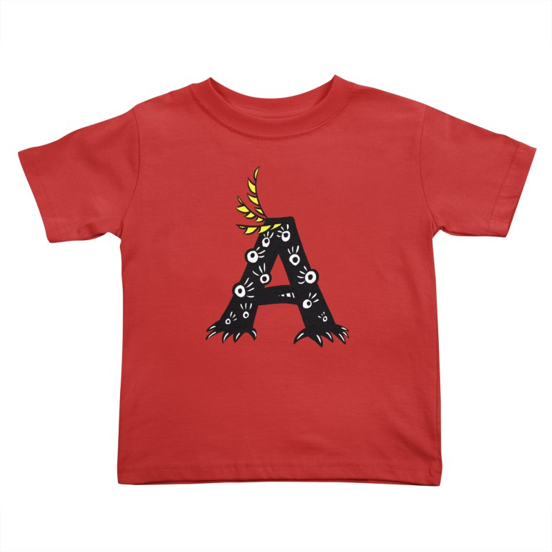 Letter A Funny Monster Kids Toddler T-Shirt by Boriana's Artist Shop