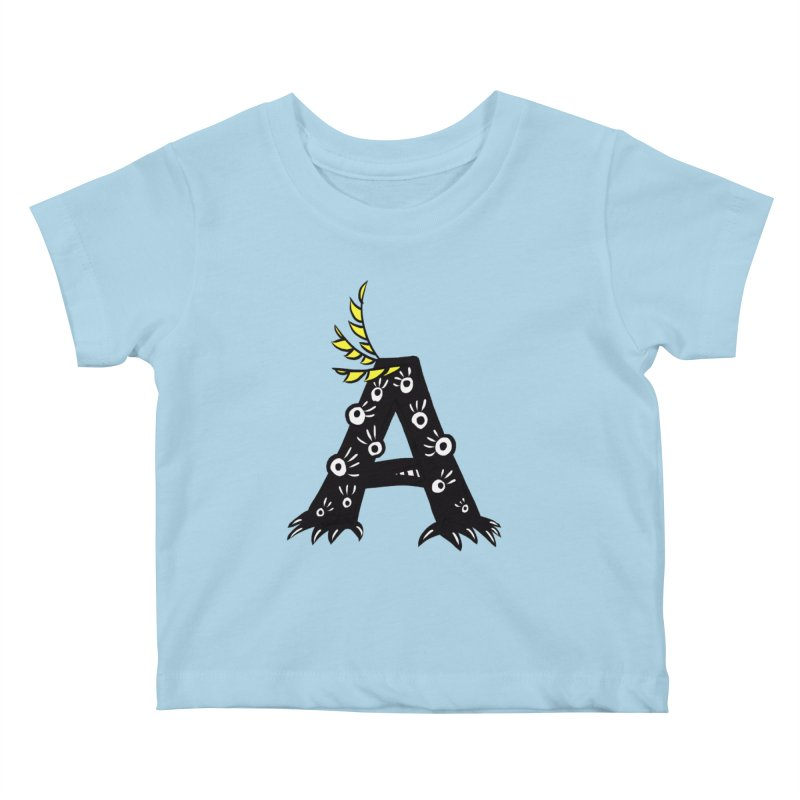 Letter A Funny Monster Kids Baby T-Shirt by Boriana's Artist Shop