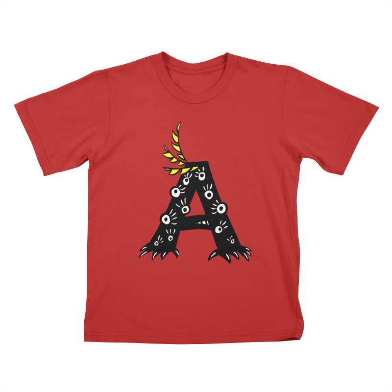 Letter A Funny Monster Kids T-Shirt by Boriana's Artist Shop