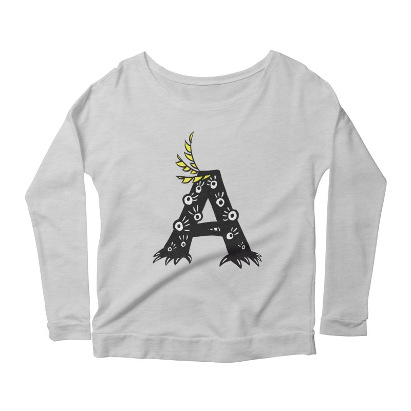 Letter A Funny Monster Women's Scoop Neck Longsleeve T-Shirt by Boriana's Artist Shop