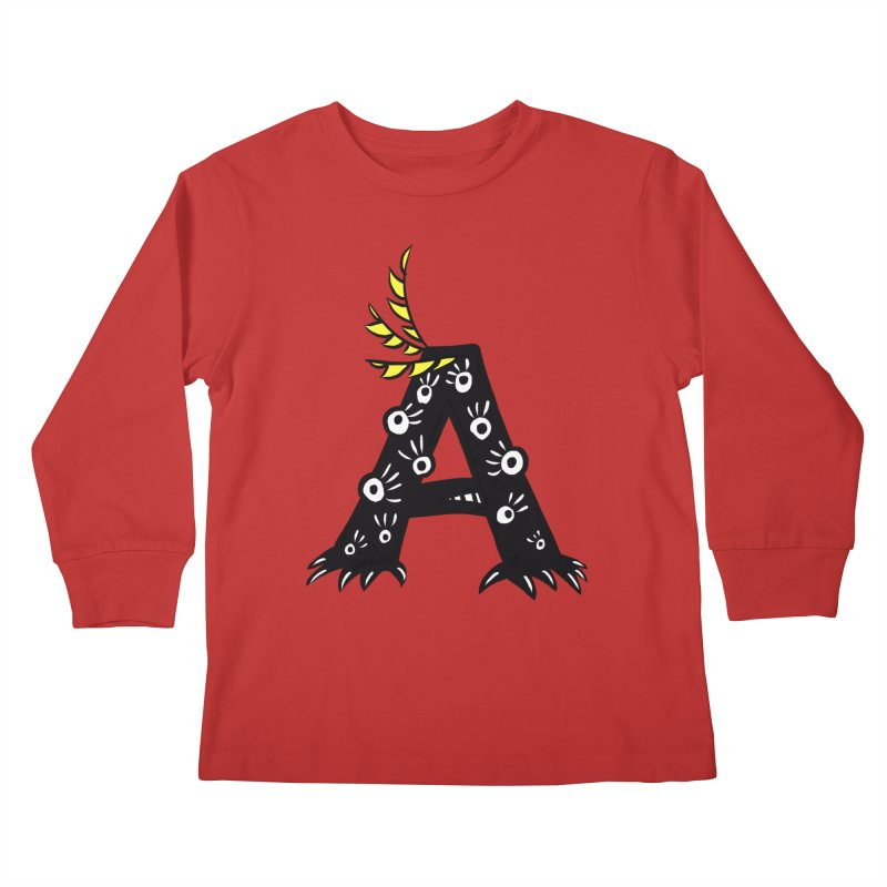 Letter A Funny Monster Kids Longsleeve T-Shirt by Boriana's Artist Shop