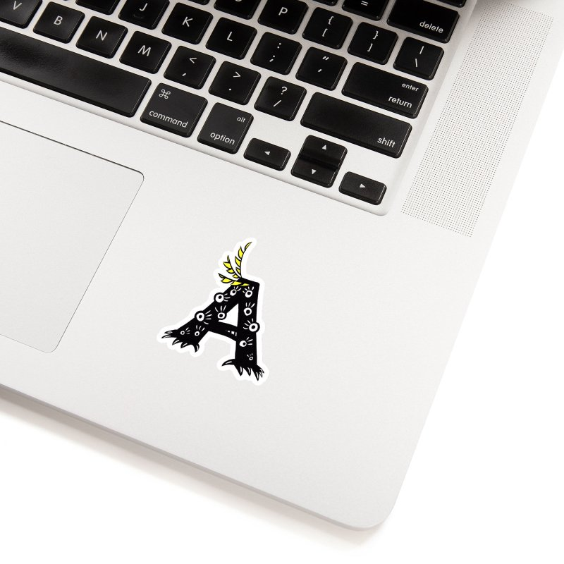 Letter A Funny Monster Accessories Sticker by Boriana's Artist Shop