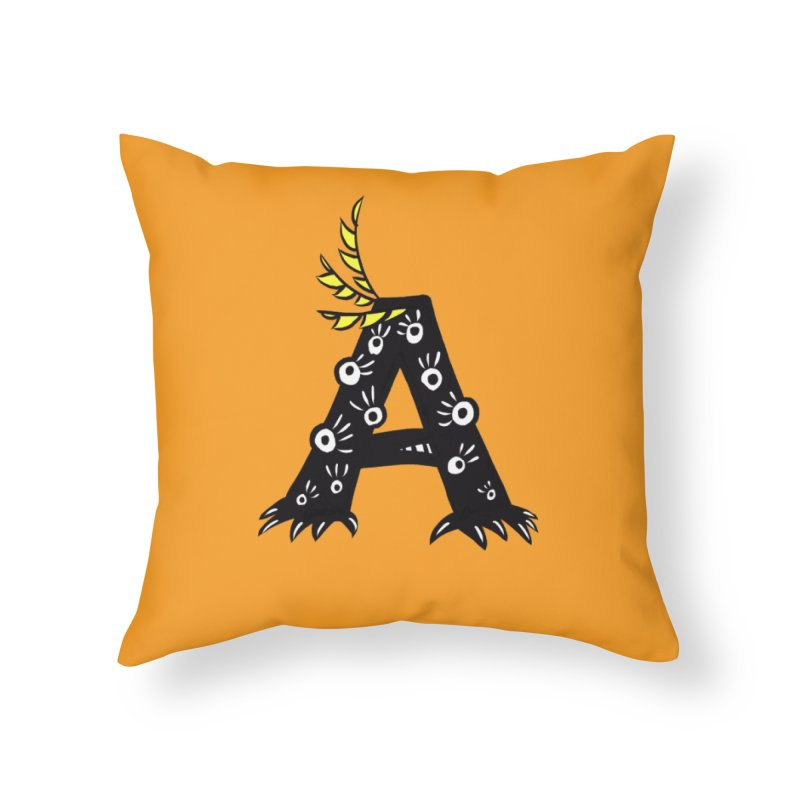 Letter A Funny Monster Home Throw Pillow by Boriana's Artist Shop
