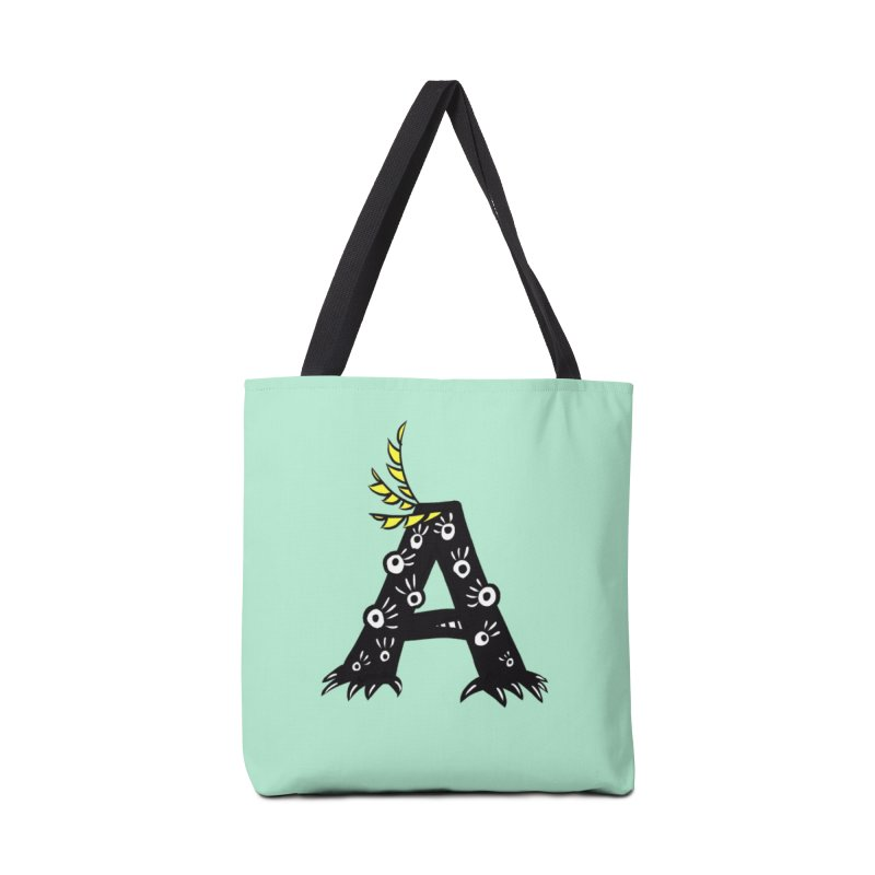 Letter A Funny Monster Accessories Tote Bag Bag by Boriana's Artist Shop