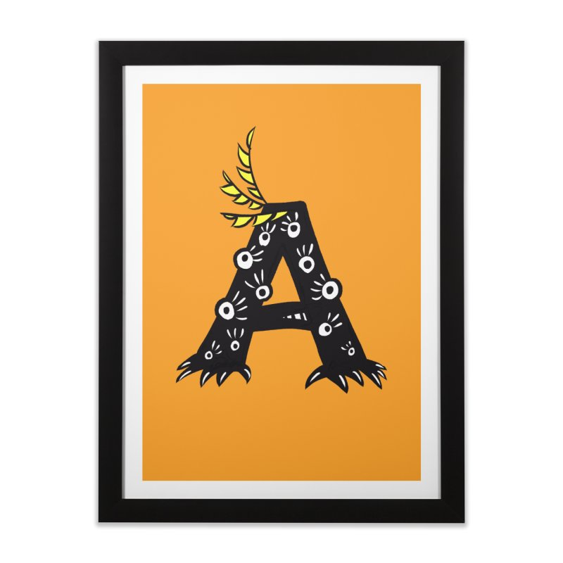 Letter A Funny Monster Home Framed Fine Art Print by Boriana's Artist Shop