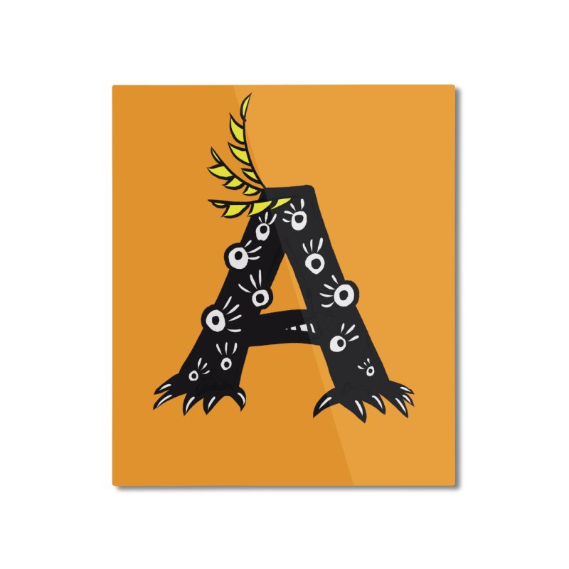 Letter A Funny Monster Home Mounted Aluminum Print by Boriana's Artist Shop