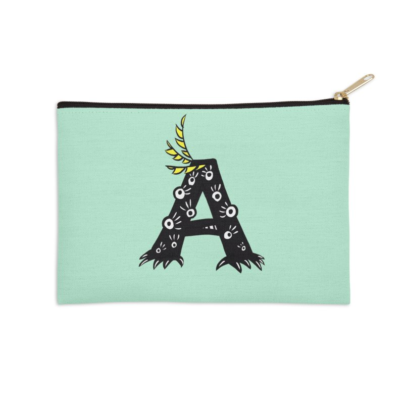 Letter A Funny Monster Accessories Zip Pouch by Boriana's Artist Shop
