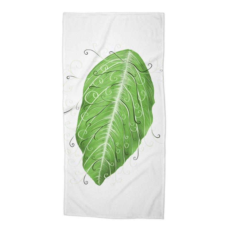 Swirly Green Leaf Whimsical Botanical Art Accessories Beach Towel by Boriana's Artist Shop