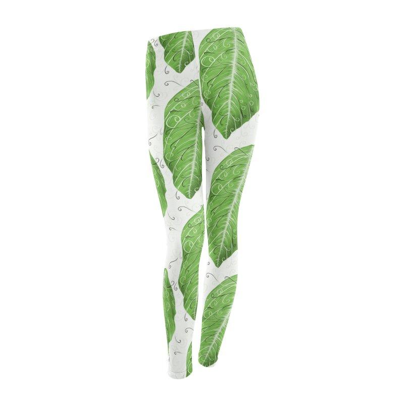 Swirly Green Leaf Whimsical Botanical Art Women's Leggings Bottoms by Boriana's Artist Shop