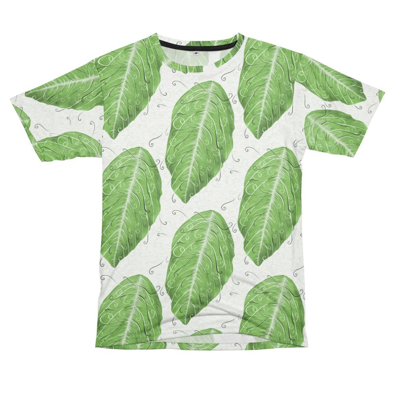 Swirly Green Leaf Whimsical Botanical Art Women's Unisex French Terry T-Shirt Cut & Sew by Boriana's Artist Shop