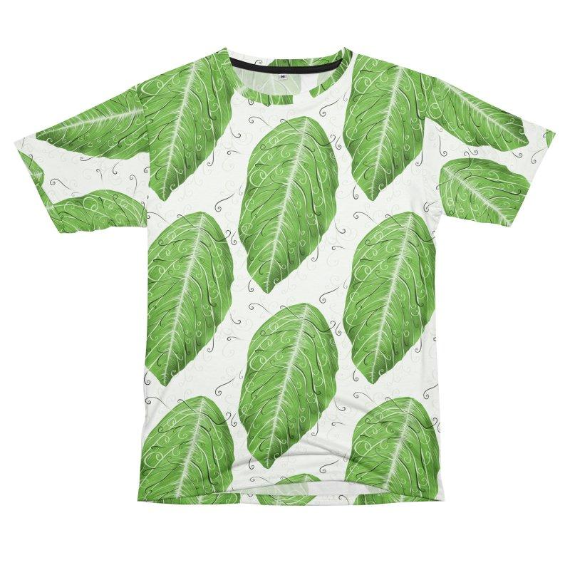 Swirly Green Leaf Whimsical Botanical Art Women's Unisex T-Shirt Cut & Sew by Boriana's Artist Shop