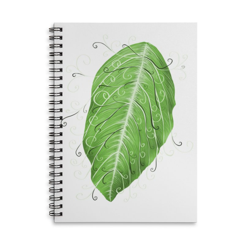 Swirly Green Leaf Whimsical Botanical Art Accessories Lined Spiral Notebook by Boriana's Artist Shop