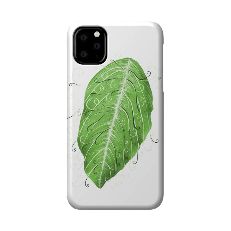 Swirly Green Leaf Whimsical Botanical Art Accessories Phone Case by Boriana's Artist Shop