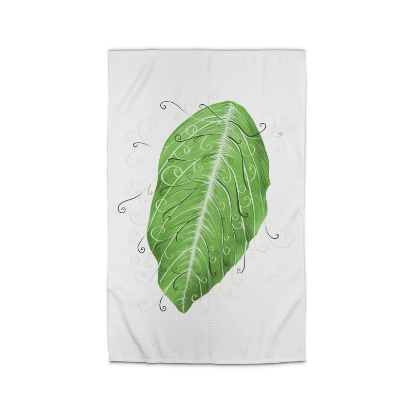 Swirly Green Leaf Whimsical Botanical Art Home Rug by Boriana's Artist Shop