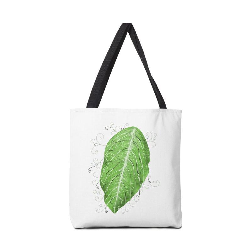 Swirly Green Leaf Whimsical Botanical Art Accessories Tote Bag Bag by Boriana's Artist Shop