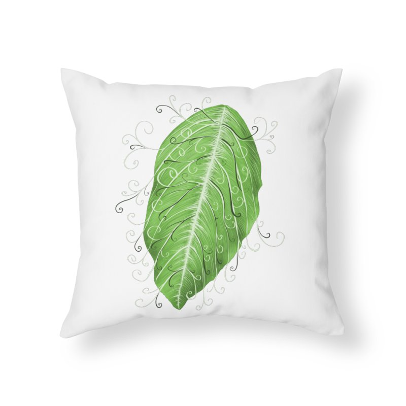 Swirly Green Leaf Whimsical Botanical Art Home Throw Pillow by Boriana's Artist Shop