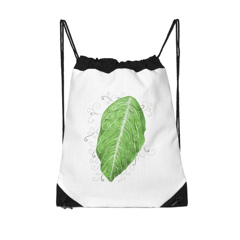 Swirly Green Leaf Whimsical Botanical Art Accessories Drawstring Bag Bag by Boriana's Artist Shop