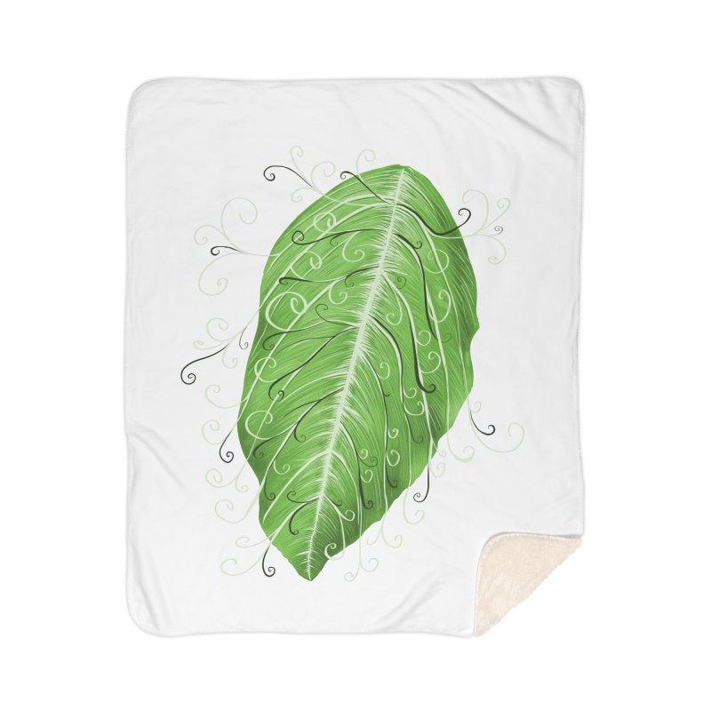 Swirly Green Leaf Whimsical Botanical Art Home Sherpa Blanket Blanket by Boriana's Artist Shop