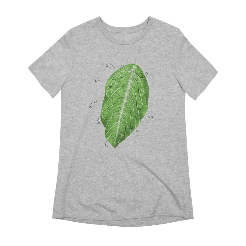 Swirly Green Leaf Whimsical Botanical Art Women's Extra Soft T-Shirt by Boriana's Artist Shop