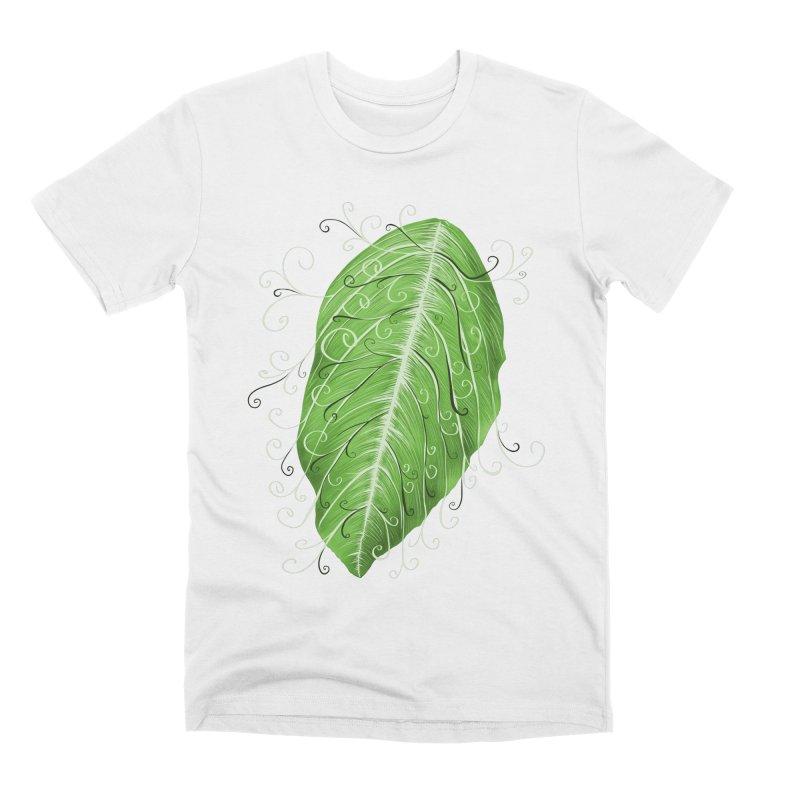Swirly Green Leaf Whimsical Botanical Art Men's Premium T-Shirt by Boriana's Artist Shop