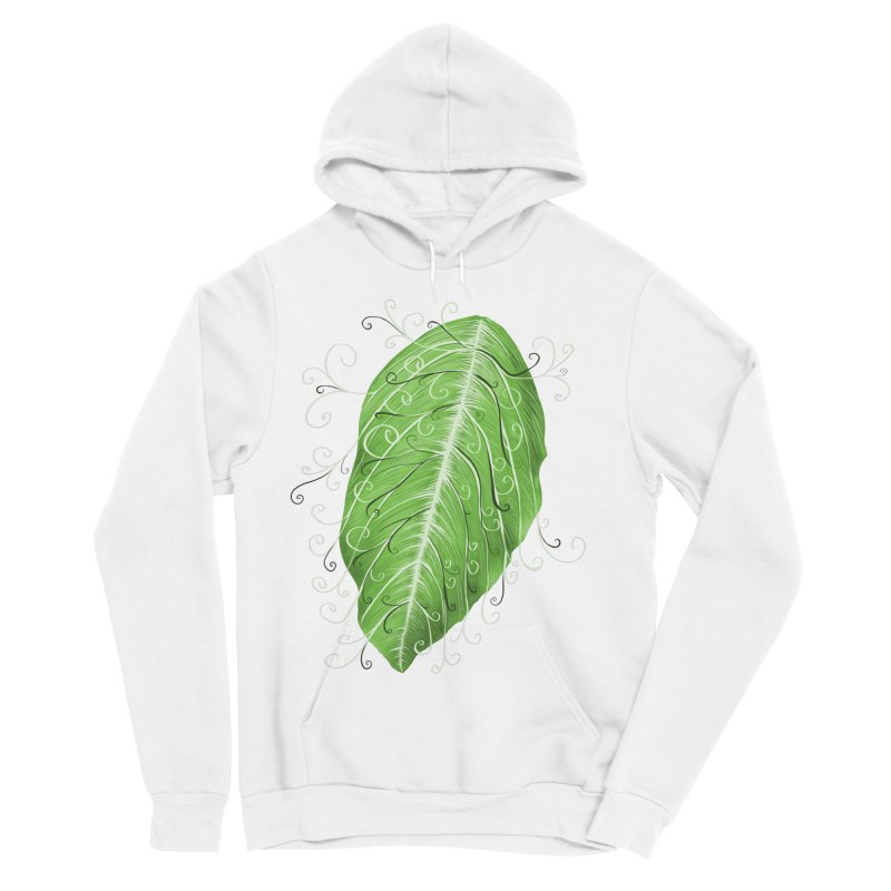 Swirly Green Leaf Whimsical Botanical Art Women's Sponge Fleece Pullover Hoody by Boriana's Artist Shop