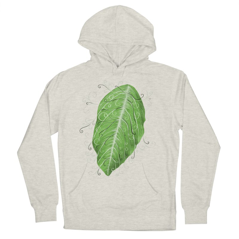 Swirly Green Leaf Whimsical Botanical Art Women's French Terry Pullover Hoody by Boriana's Artist Shop