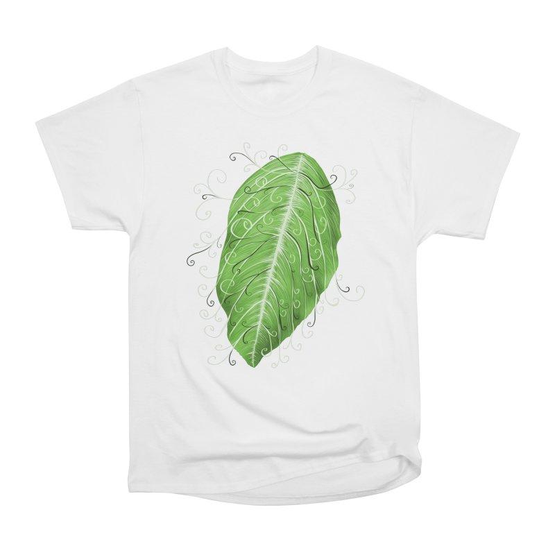 Swirly Green Leaf Whimsical Botanical Art Men's Heavyweight T-Shirt by Boriana's Artist Shop