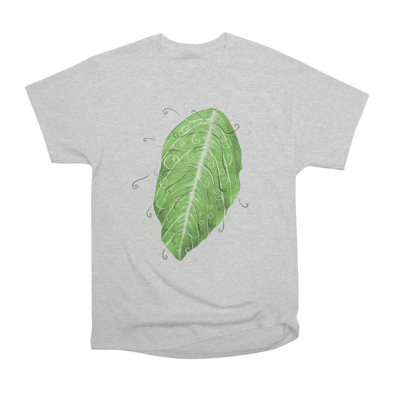 Swirly Green Leaf Whimsical Botanical Art Women's Heavyweight Unisex T-Shirt by Boriana's Artist Shop